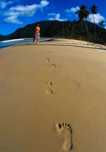Footprints on tropical beach